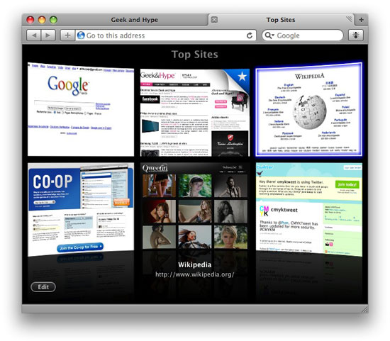 Safari affiche le Web façon Cover Flow